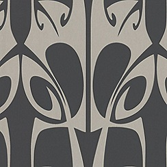 Barbara Hulanicki - Charc/gold Hula BH Wallpaper