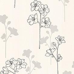 Superfresco - Floral Meadow Black & White Wallpaper