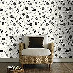 Superfresco - Belle Floral Print Black & White Wallpaper
