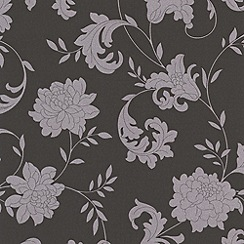Laurence Llewelyn-Bowen - Charcoal/silver Silk wallpaper