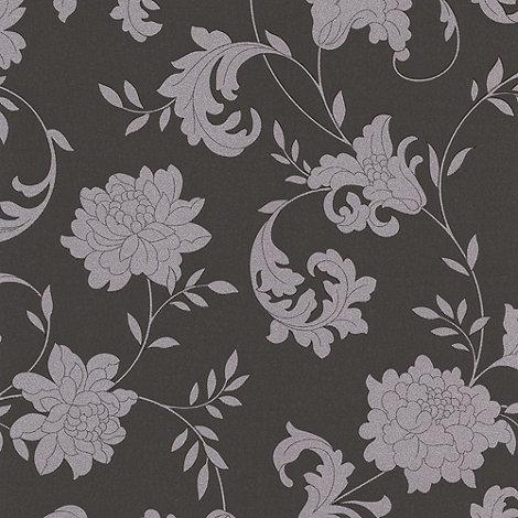 Graham & Brown - Charcoal/silver Silk wallpaper