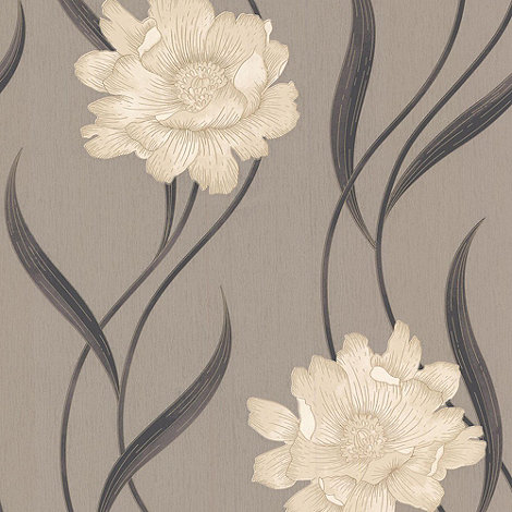 Superfresco - Taupe/Charcoal Poppy Wallpaper
