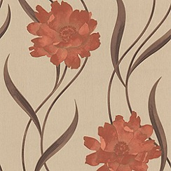 Superfresco - Burnt Orange/Cream Poppy Wallpaper