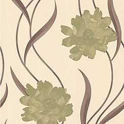 Superfresco - Green/Cream Poppy Wallpaper