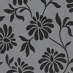 Barbara Hulanicki - Shimmering charcoal Ophelia flock wallpaper