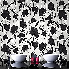 Graham & Brown - Marylou Black & White Floral Print Wallpaper for Kitchen & Bathroom