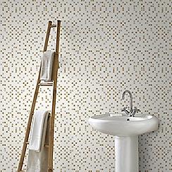 Superfresco Easy - White and Gold Aroura Tile Kitchen & Bathroom Wallpaper