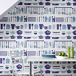 Contour - Blue Making A Crockery Wallpaper