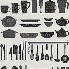 Contour - Black Making A Crockery Wallpaper
