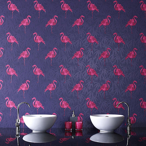 Contour - Indigo Flamingo Wallpaper