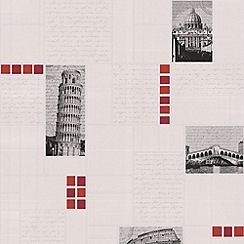 Contour - Red Italia Tile Wallpaper