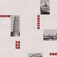 Contour - Red Italia Tile Wallpaper