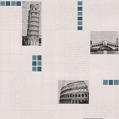 Contour - Blue Italia Tile Wallpaper