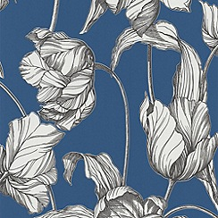 Laurence Llewelyn-Bowen - Blue Bosphorous Tulips LLB Harem Wallpaper