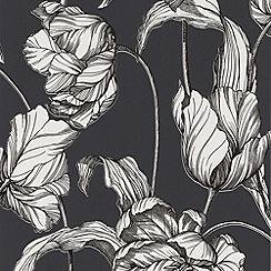 Laurence Llewelyn-Bowen - Marbella Grey LLB Harem Tulips Wallpaper
