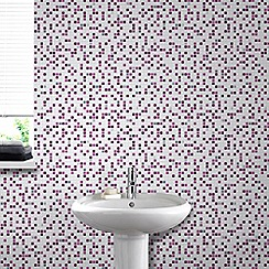 Contour - Checker Tile Effect Purple Multi Wallpaper for Kitchen & Bathroom