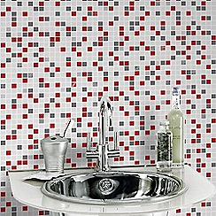 Contour - Checker Tile Effect Red Multi Wallpaper for Kitchen & Bathroom
