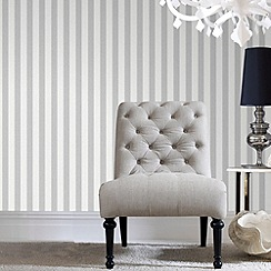 Superfresco - Soft grey ticking stripe wallpaper