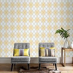 Superfresco - Ochre argyle wallpaper