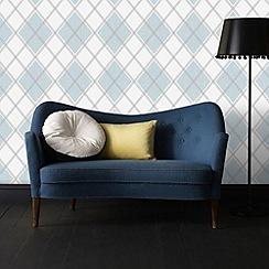 Superfresco - Sky blue argyle wallpaper