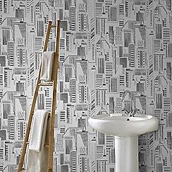 Graham & Brown - Sketch Modern Cityscape Black & White Wallpaper for Kitchen & Bathroom