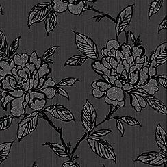 Superfresco - Modern Floral Bloom Black Shimmer Effect Wallpaper