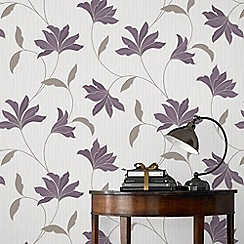 Superfresco - Plum & Silver Alannah Wallpaper