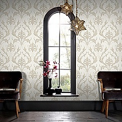 Graham & Brown - Pearl & Taupe Oxford Wallpaper