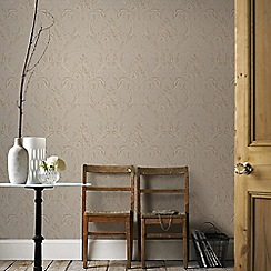 Graham & Brown - Beige & Gold Oxford Wallpaper