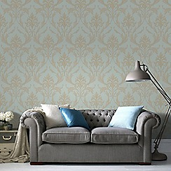 Graham & Brown - Teal & Gold Oxford Wallpaper