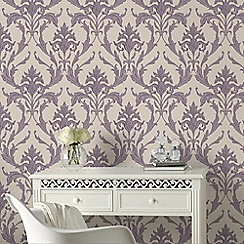 Graham & Brown - Cream & Purple Oxford Wallpaper