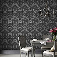 Graham & Brown - Black & Grey Oxford Wallpaper