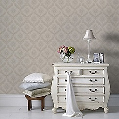 Graham & Brown - Cream Pearl Jacquard Wallpaper
