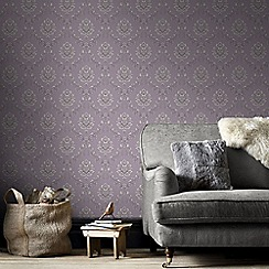 Graham & Brown - Purple & Cream Jacquard Wallpaper