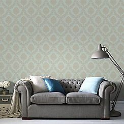 Graham & Brown - Gold & Teal Jacquard Wallpaper