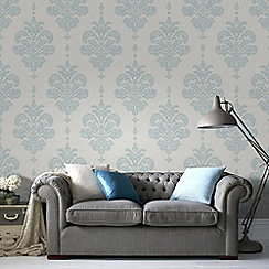 Superfresco - Duck Egg & White Olana Wallpaper
