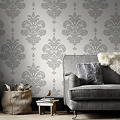 Superfresco - Grey & White Olana Wallpaper