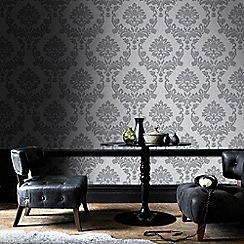 Graham & Brown - Silver & Grey Dynasty Wallpaper