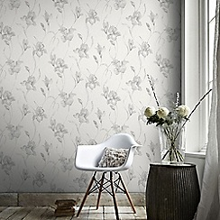 Graham & Brown - White & Grey Iris Wallpaper