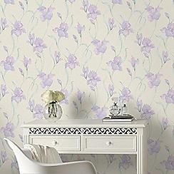 Graham & Brown - White & Purple Iris Wallpaper