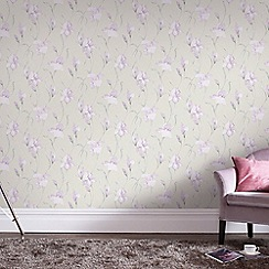 Graham & Brown - Grey & Lilac Iris Wallpaper