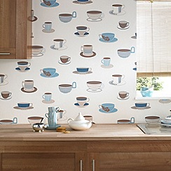 Contour - Teal Time For Tea Wallpaper