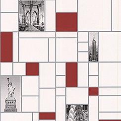 Contour - Red New York City Wallpaper