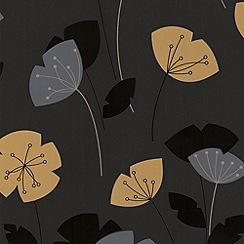 Contour - Mustard Flori Wallpaper
