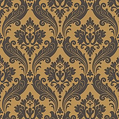 Kelly Hoppen - Ochre Faux Vintage Flock wallpaper