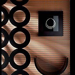 Kelly Hoppen - Burnt orange/gold Hicks wallpaper