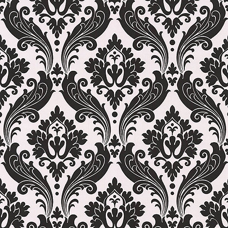 Kelly Hoppen - Pearl/black Faux Vintage Flock wallpaper