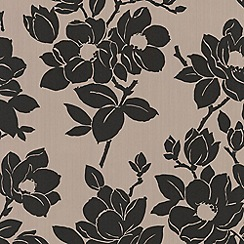 Kelly Hoppen - Taupe/black Rose wallpaper