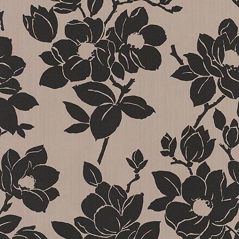 Kelly Hoppen - Taupe/black Rose wallpaper