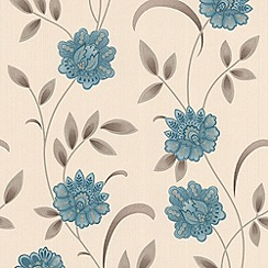 Premier - Teal/Cream Sadie Premier Wallpaper